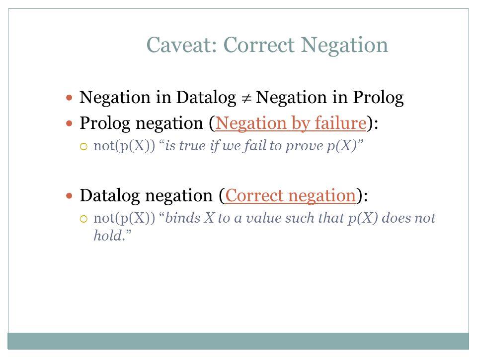 Caveat: Correct Negation