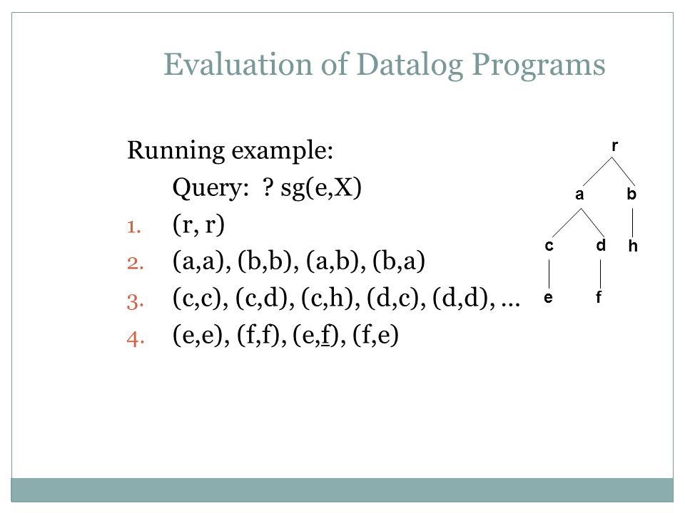 Evaluation of Datalog Programs