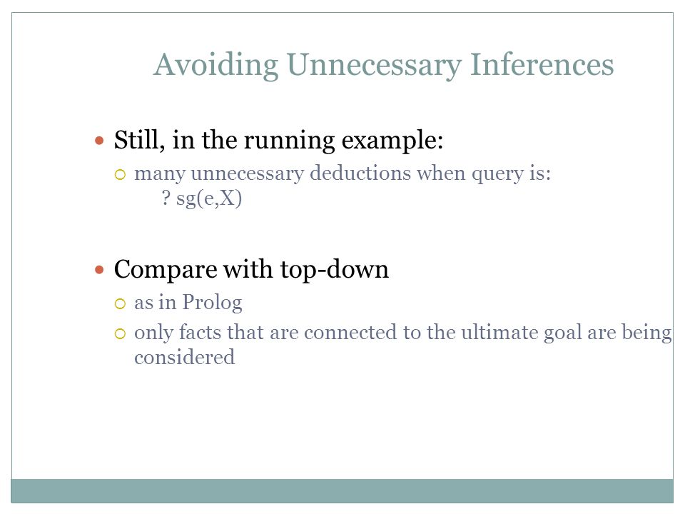 Avoiding Unnecessary Inferences