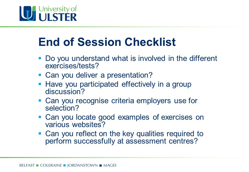 End of Session Checklist