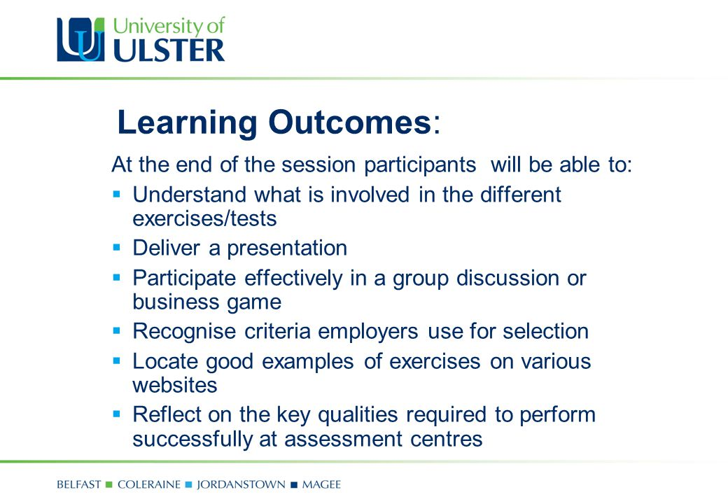 Learning Outcomes: At the end of the session participants will be able to: Understand what is involved in the different exercises/tests.
