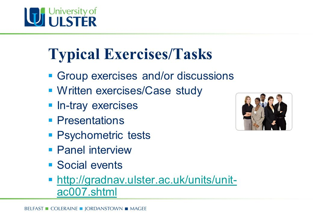 Typical Exercises/Tasks
