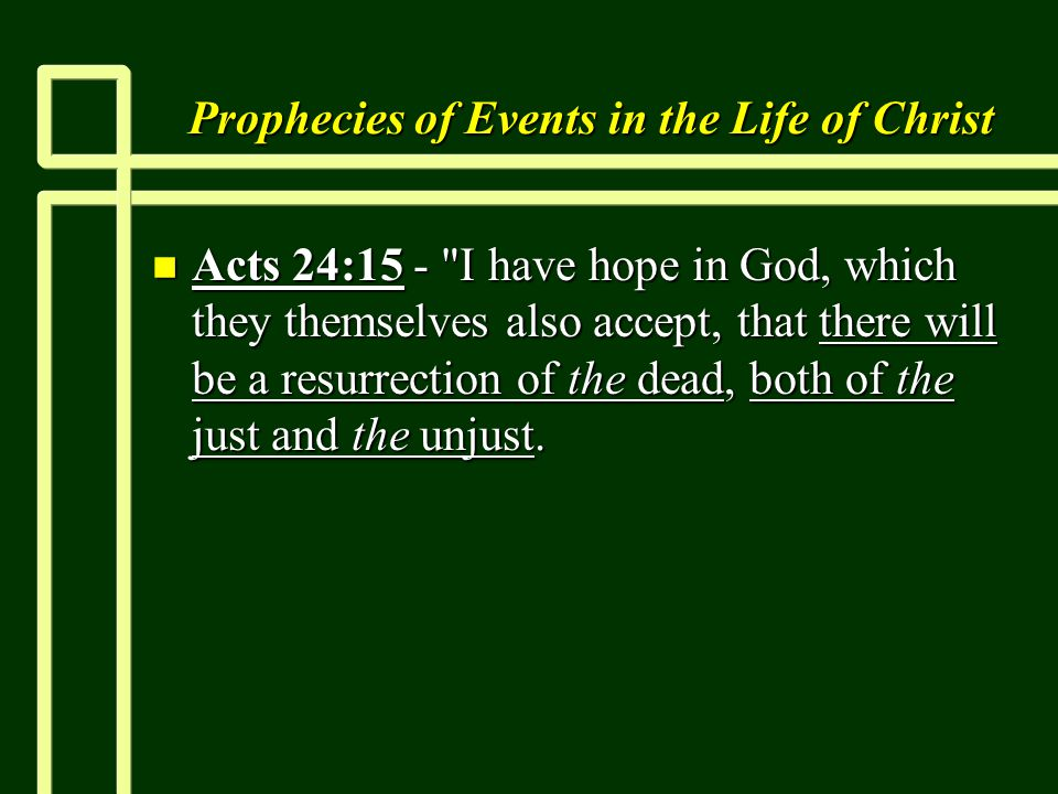 Prophecies of Events in the Life of Christ