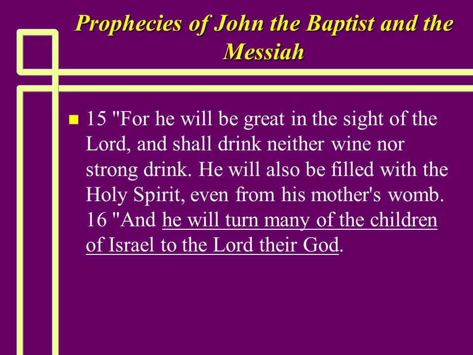 Prophecies of John the Baptist and the Messiah