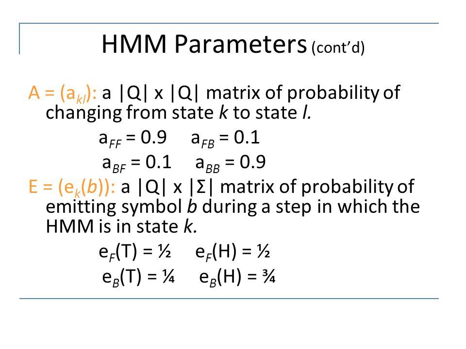 HMM Parameters (cont'd)
