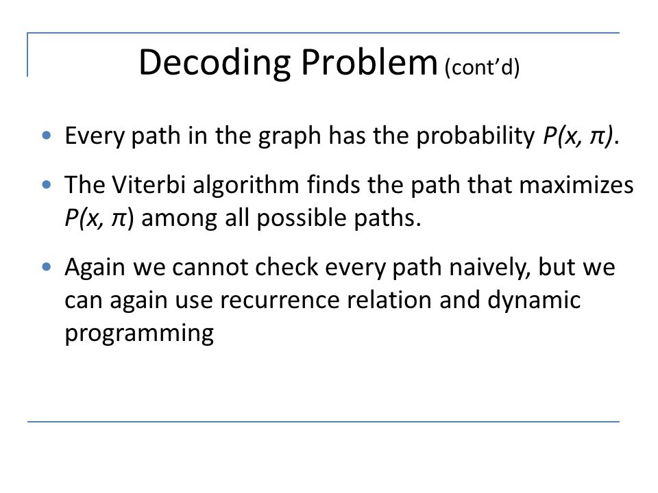 Decoding Problem (cont'd)