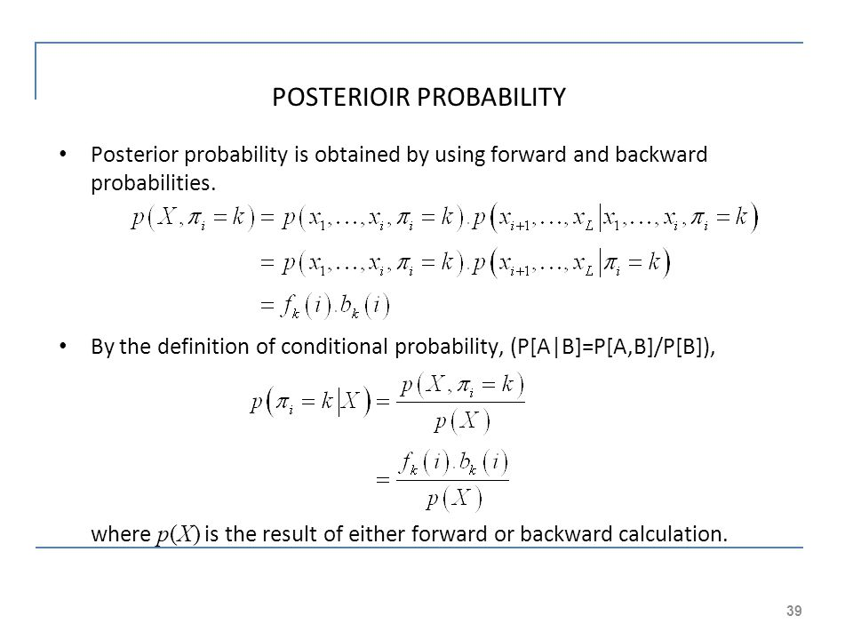 POSTERIOIR PROBABILITY