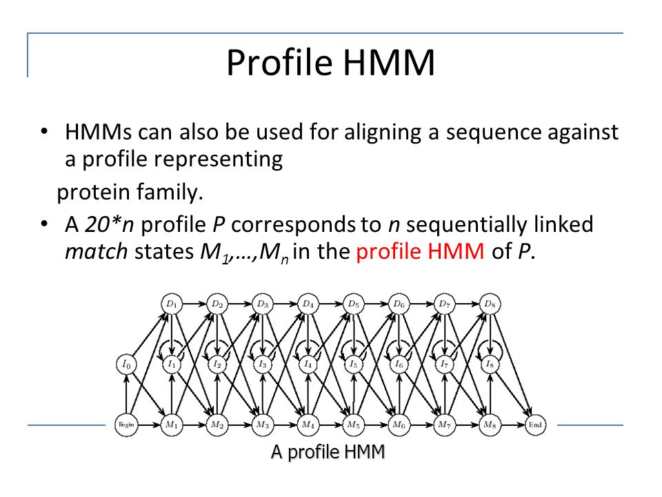 Profile HMM HMMs can also be used for aligning a sequence against a profile representing. protein family.