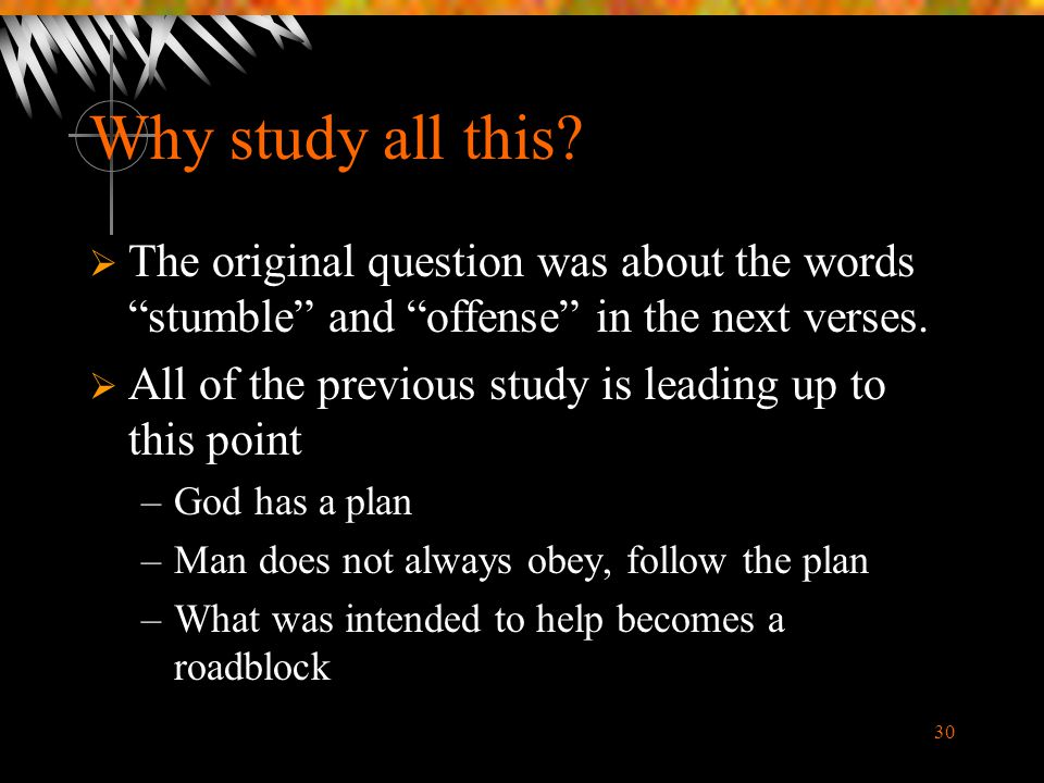 Why study all this The original question was about the words stumble and offense in the next verses.