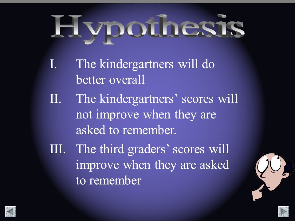 Hypothesis The kindergartners will do better overall