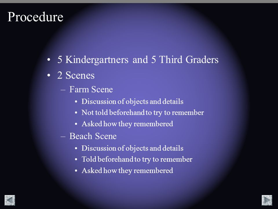 Procedure 5 Kindergartners and 5 Third Graders 2 Scenes Farm Scene