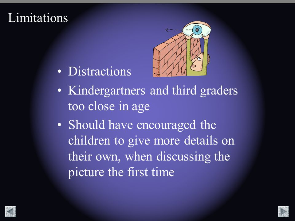 Limitations Distractions. Kindergartners and third graders too close in age.