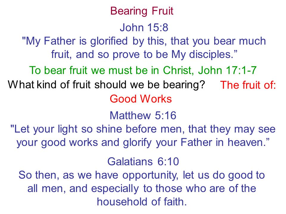 To bear fruit we must be in Christ, John 17:1-7