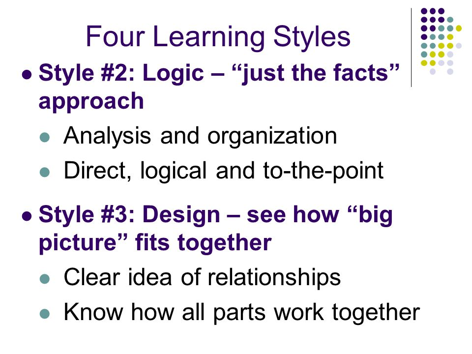 Four Learning Styles Analysis and organization