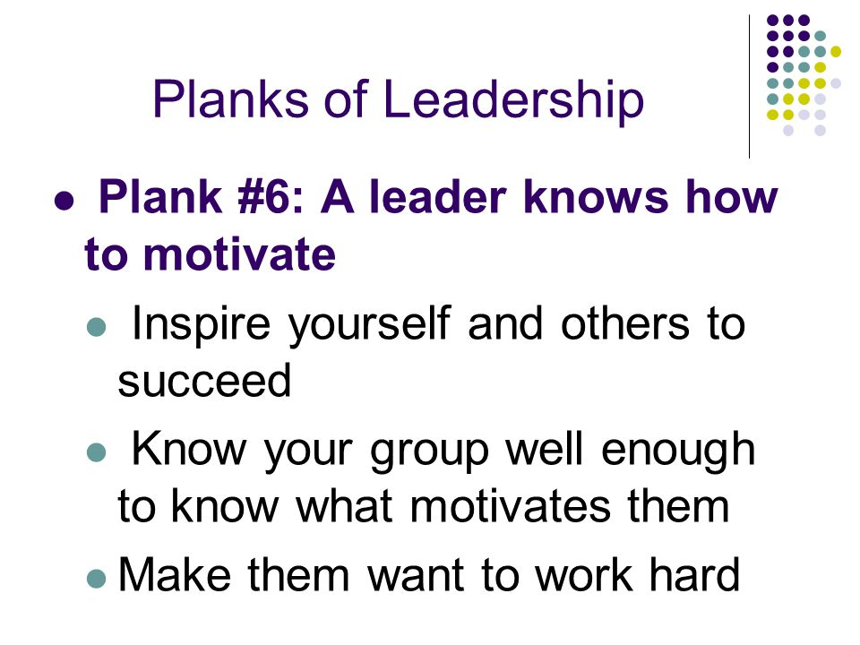 Planks of Leadership Plank #6: A leader knows how to motivate