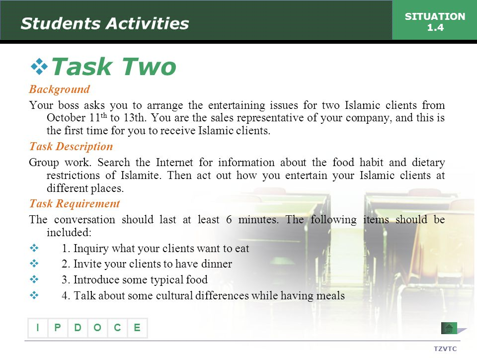 Task Two Students Activities Background