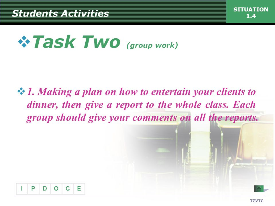 Students Activities SITUATION 1.4. Task Two (group work)