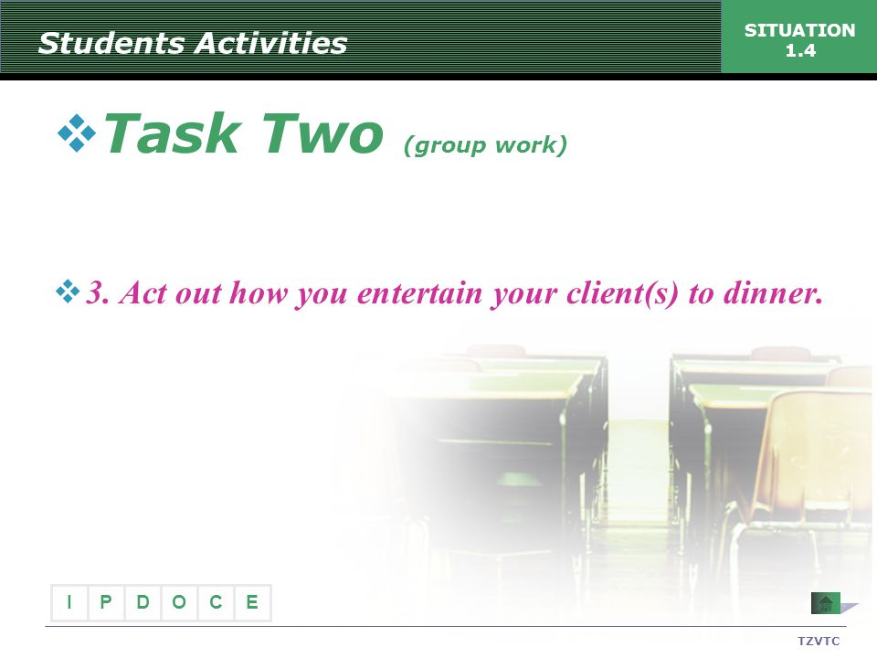 Students Activities SITUATION 1.4. Task Two (group work) 3. Act out how you entertain your client(s) to dinner.