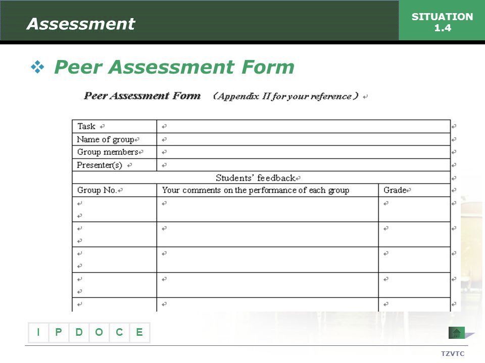 Assessment SITUATION 1.4 Peer Assessment Form TZVTC