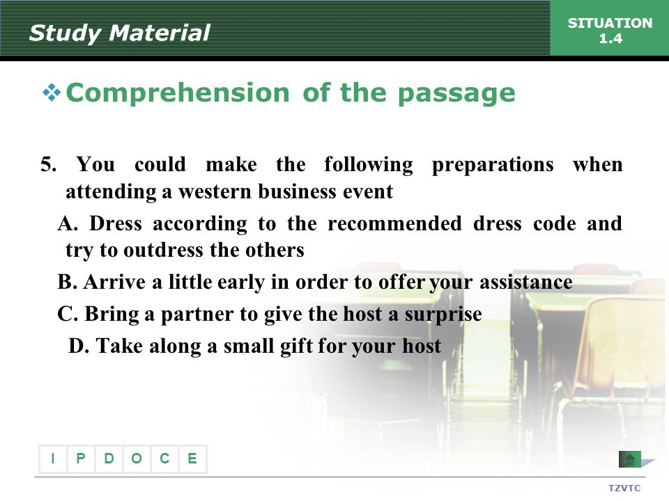 Comprehension of the passage