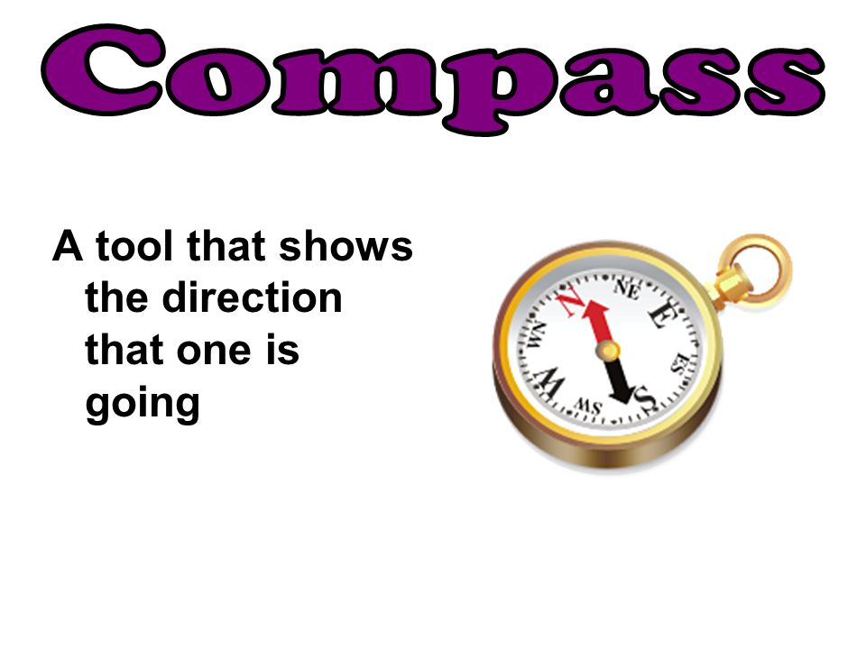Compass A tool that shows the direction that one is going
