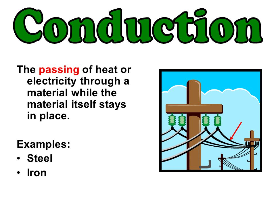 Conduction The passing of heat or electricity through a material while the material itself stays in place.