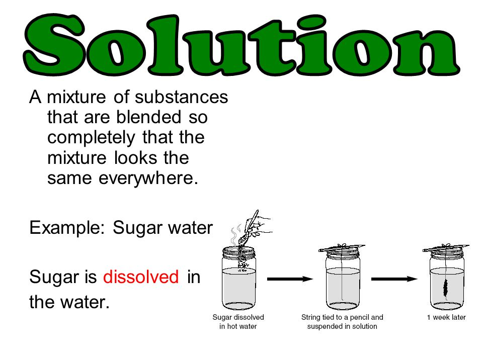 Solution A mixture of substances that are blended so completely that the mixture looks the same everywhere.