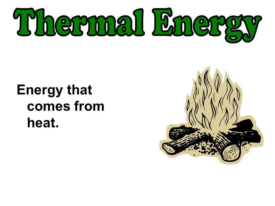 Thermal Energy Energy that comes from heat.