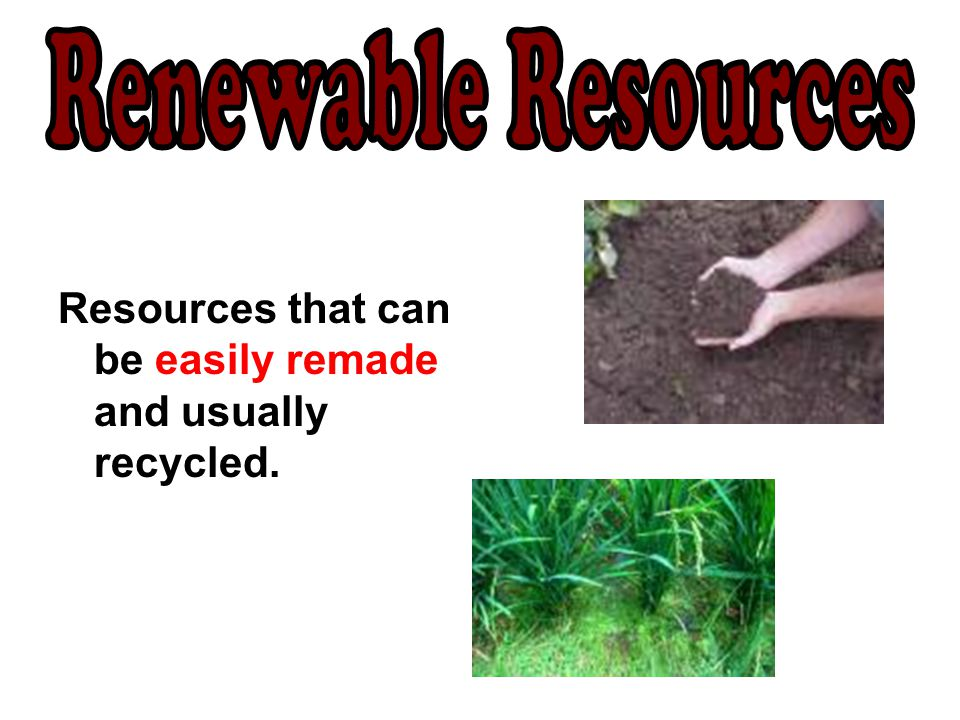 Renewable Resources Resources that can be easily remade and usually recycled.