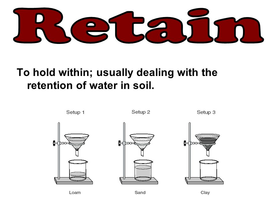 Retain To hold within; usually dealing with the retention of water in soil.