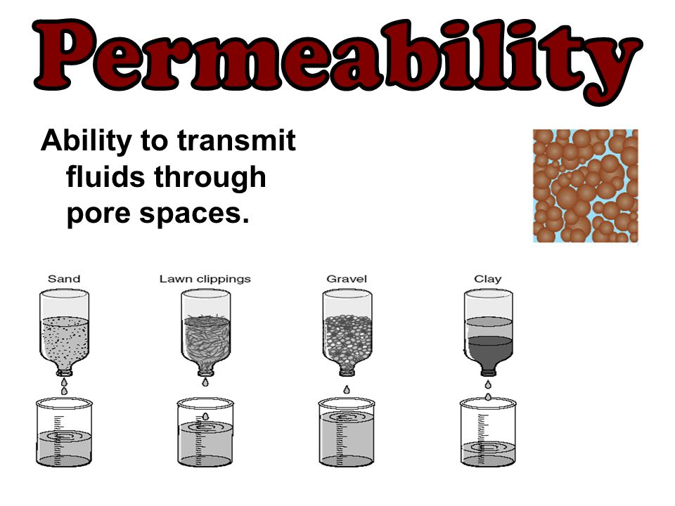 Permeability Ability to transmit fluids through pore spaces.
