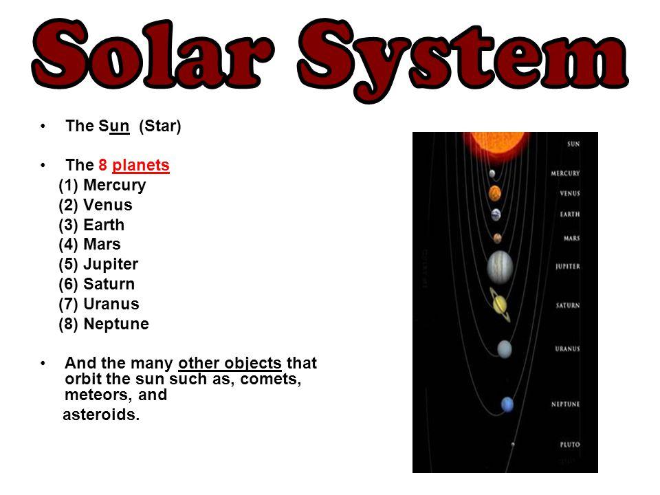Solar System The Sun (Star) The 8 planets (1) Mercury (2) Venus