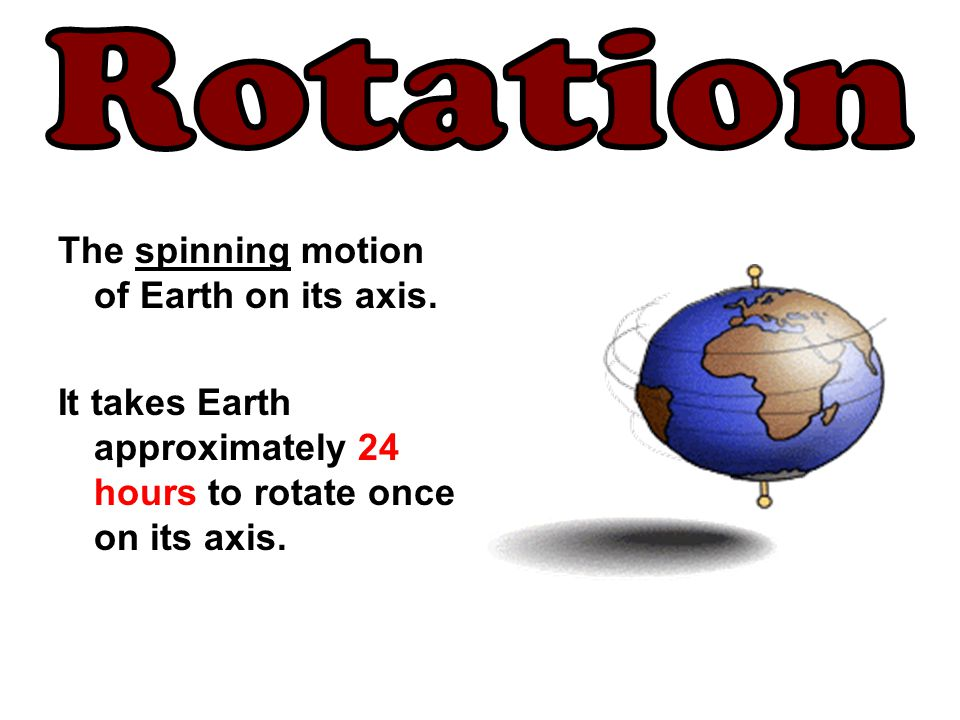 Rotation The spinning motion of Earth on its axis.
