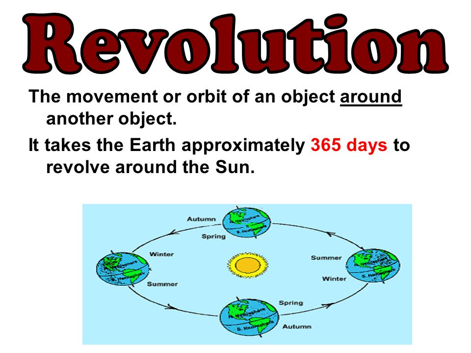 Revolution The movement or orbit of an object around another object.