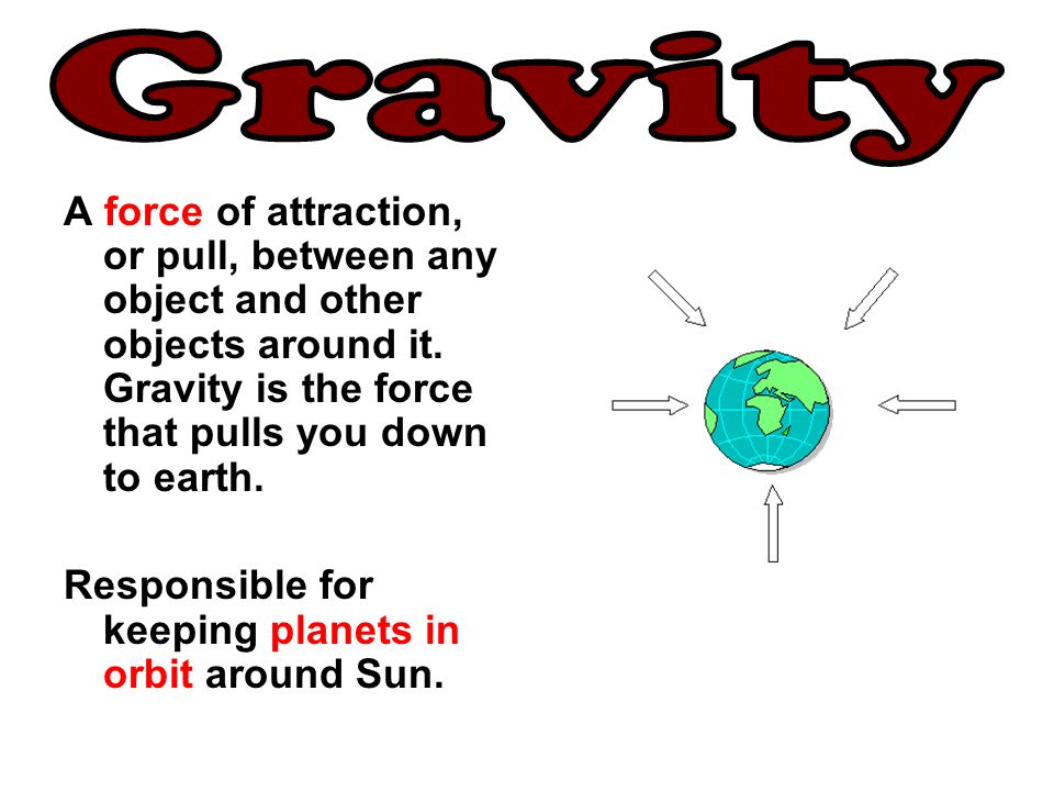Gravity A force of attraction, or pull, between any object and other objects around it. Gravity is the force that pulls you down to earth.