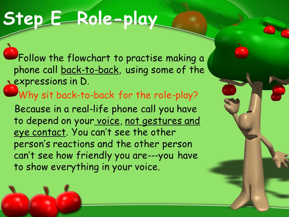 Step E Role-play Follow the flowchart to practise making a phone call back-to-back, using some of the expressions in D.