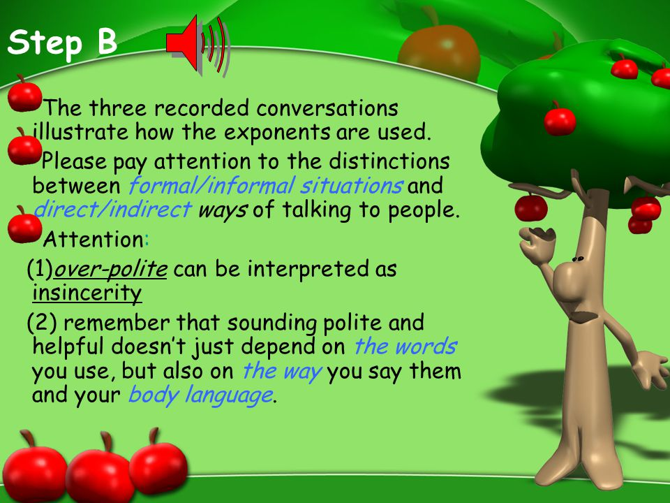 Step B The three recorded conversations illustrate how the exponents are used.