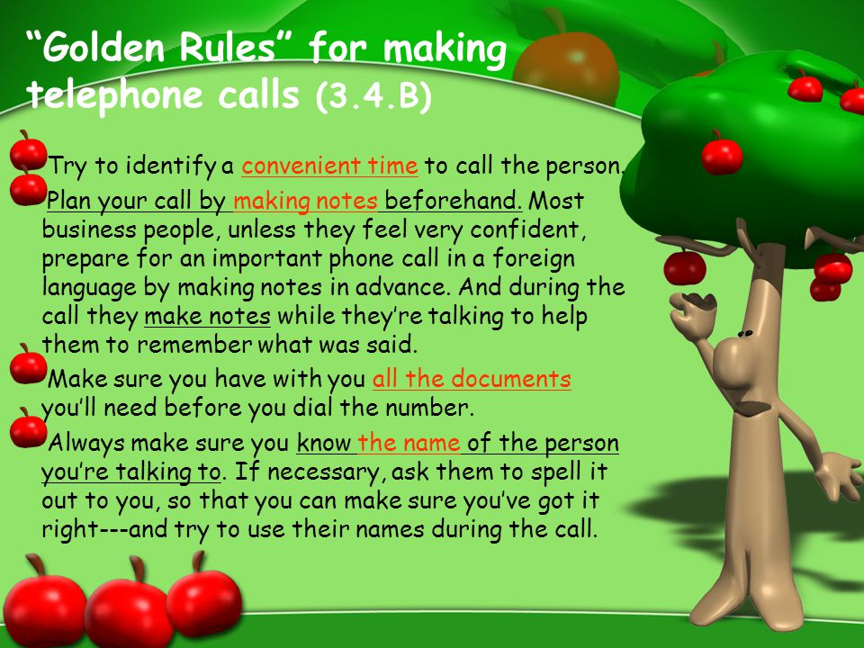 Golden Rules for making telephone calls (3.4.B)