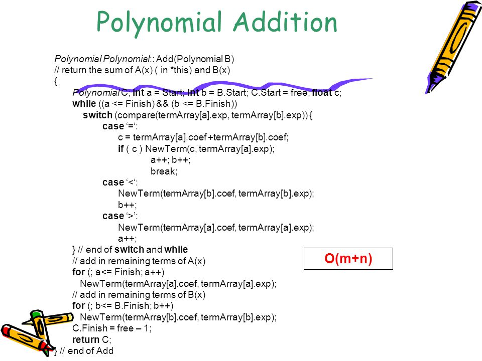 Polynomial Addition O(m+n) Polynomial Polynomial:: Add(Polynomial B)