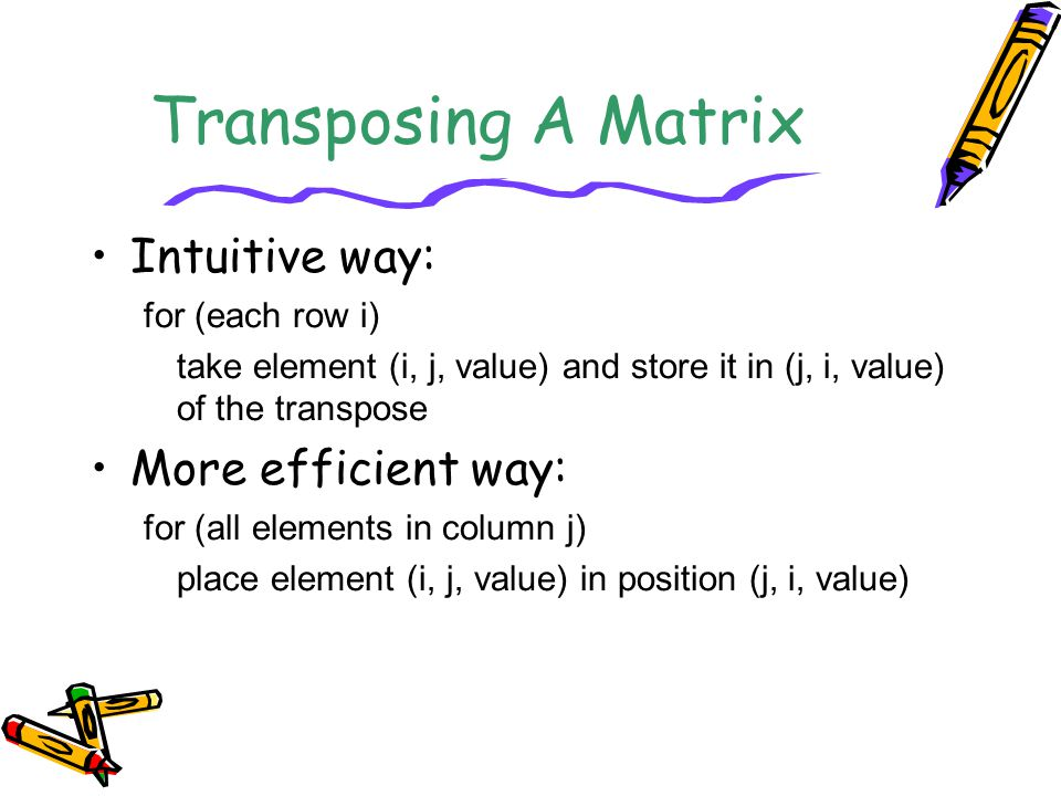 Transposing A Matrix Intuitive way: More efficient way:
