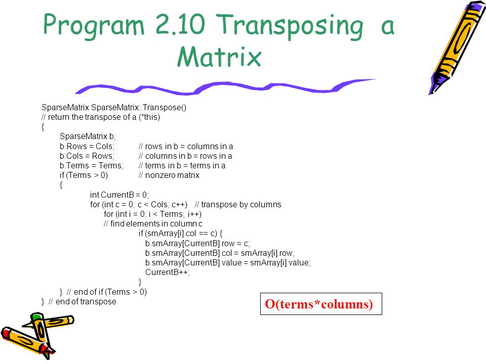 Program 2.10 Transposing a Matrix