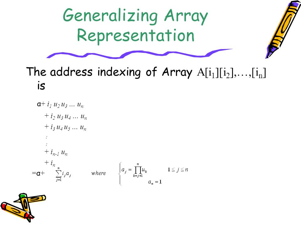Generalizing Array Representation