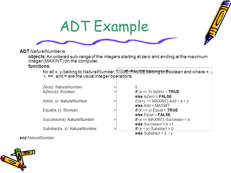 ADT Example ADT NaturalNumber is