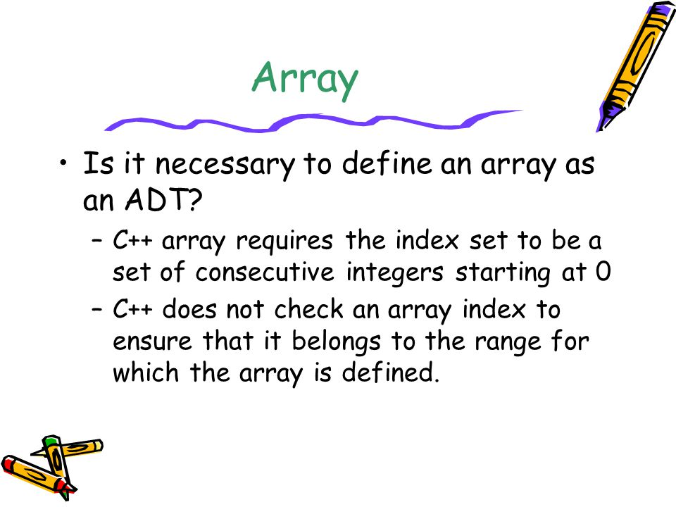 Array Is it necessary to define an array as an ADT