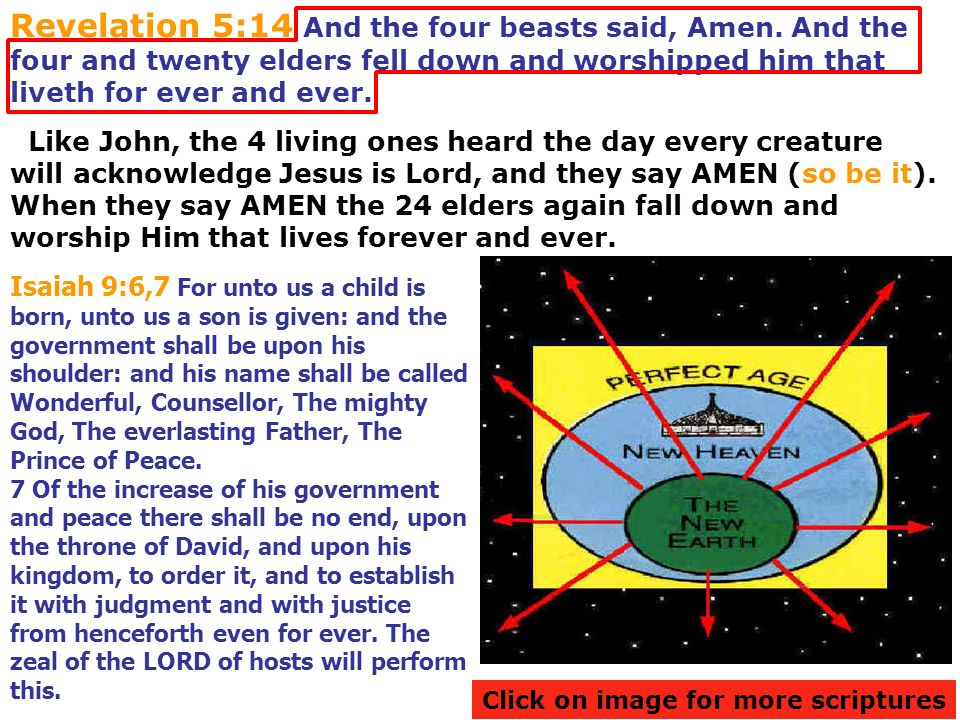 Revelation 5:14 And the four beasts said, Amen