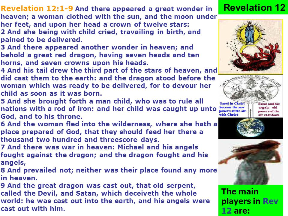 Revelation 12 The main players in Rev 12 are: