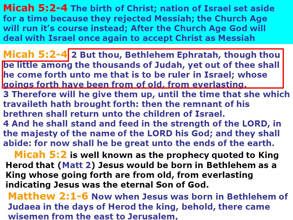 Micah 5:2-4 The birth of Christ; nation of Israel set aside for a time because they rejected Messiah; the Church Age will run it's course instead; After the Church Age God will deal with Israel once again to accept Christ as Messiah