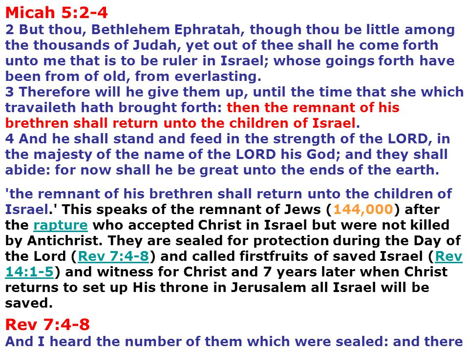 Rev 7:4-8 And I heard the number of them which were sealed: and there