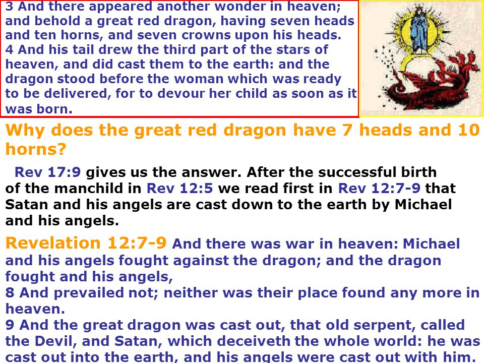 Why does the great red dragon have 7 heads and 10 horns