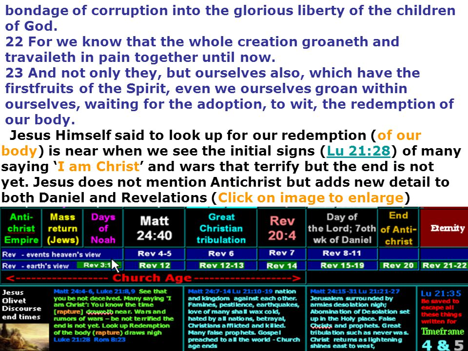 bondage of corruption into the glorious liberty of the children of God.